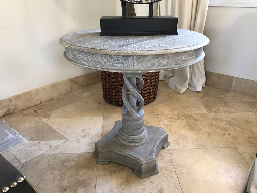 Wooden Grey Tone Pedestal Table With Twisted Wooden