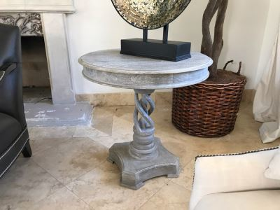 Wooden Grey Tone Pedestal Table With Twisted Wooden Pedestal Base 30'W X 29.5'H