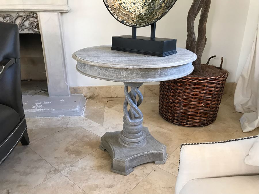 Wooden Grey Tone Pedestal Table With Twisted Wooden Pedestal Base 30'W X 29.5'H [Photo 1]