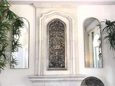 Pair Of Stunning Arched Silver Tone Beveled Glass Wall Mirrors - Does Not Include Mirror In Center 24'W X 72'H