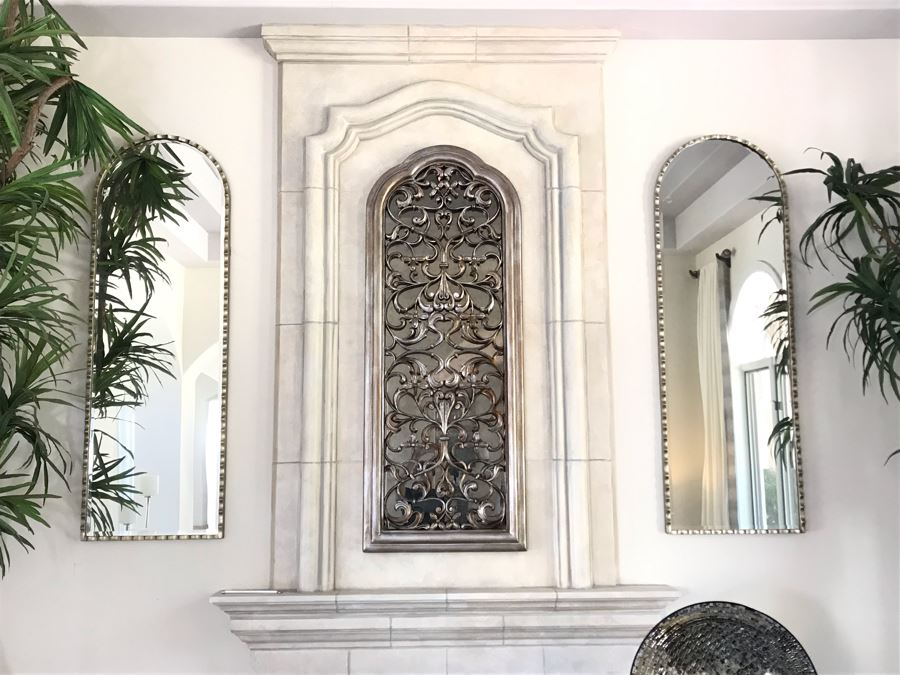 Pair Of Stunning Arched Silver Tone Beveled Glass Wall Mirrors - Does Not Include Mirror In Center 24'W X 72'H [Photo 1]