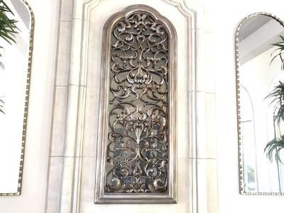 Stunning Arched Silver Tone Ornamental Wall Mirror 28'W X 72'H