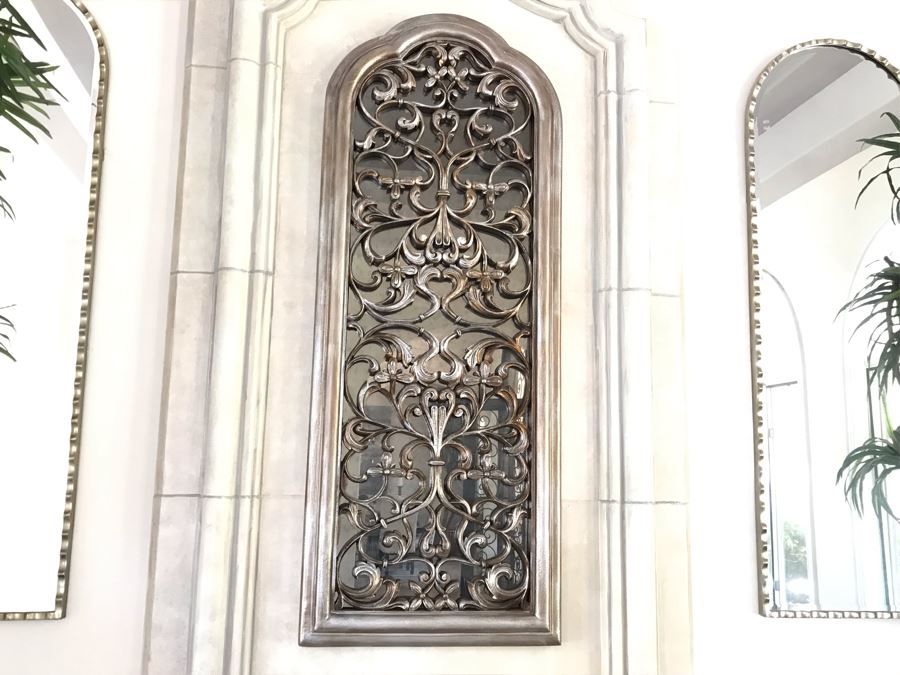 Stunning Arched Silver Tone Ornamental Wall Mirror 28'W X 72'H [Photo 1]