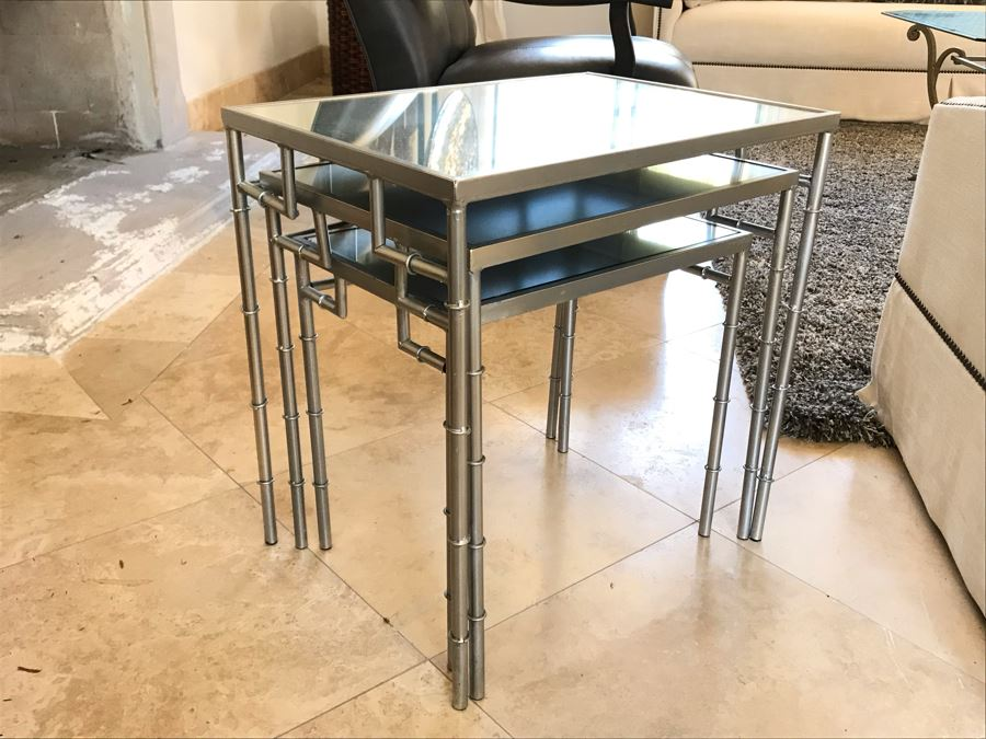 Set Of (3) Metal Faux Bamboo Silver Tone Nesting Tables With Mirrored Tops 16' X 22' X 22'H [Photo 1]