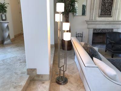Stunning Modernist Chrome 4-Light Floor Lamp 72'H
