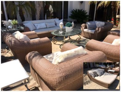 Weathered Outdoor Furniture: Faux Wicker Set With (4) Armchairs, Sofa, End Table And Oversized Chaise Lounge Chair Plus (3) Glass Top Metal Base Tables And (2) Swivel Bar Stools - See Photos
