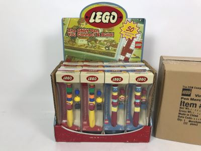 New LEGO 50th Anniversary Edition Collectible Pens With Merchandiser - 12 Pens With Store Display