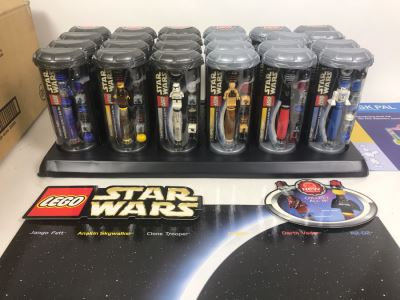 New LEGO Star Wars Pens Store Merchandiser - 24 Pens Total With Store Display