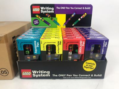 New LEGO LEGOLAND Collectible Pens With Merchandiser - 24 Pens With Store Display