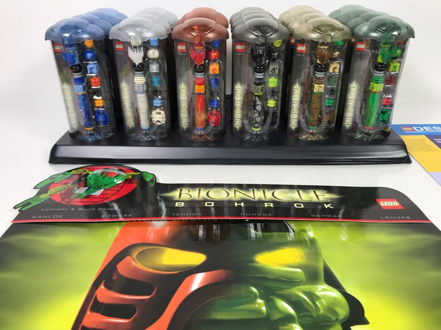 New LEGO Bionicle Bohrok Collectible Pens With Merchandiser - 24 Pens With Store Display [Photo 1]
