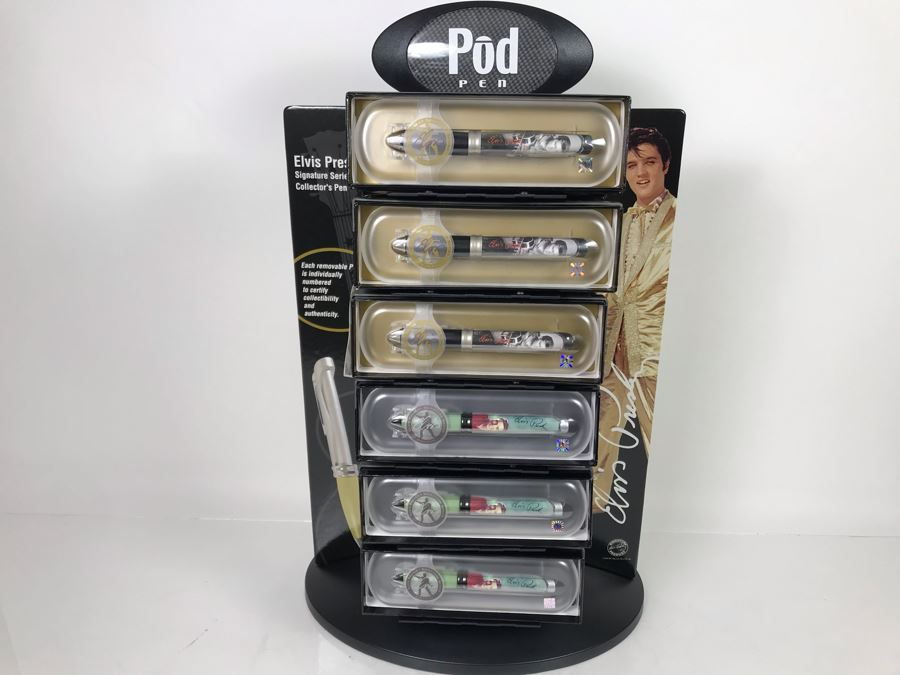 New Elvis Presley Collectible POD Pens Individually Numbered With Merchandiser Store Display - 24 Pens Total With Store Display [Photo 1]