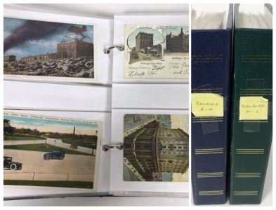 (2) Binders Filled With Over 110 Vintage Antique Railroad Postcards - Some Postmarked With Stamps