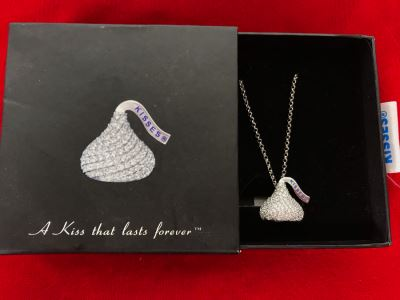 Sterling Silver Cubic Zirconia Hershey's Kisses Pendant With Sterling Silver Chain New In Box
