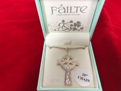 New Irish Sterling Silver Cross Pendant With 20' Sterling Silver Chain Failte Crafted By Solvar
