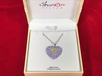 Stunning New Sterling Silver Heart Pendant Featuring Brilliant Purple Stones With Sterling Silver Chain Irish Made By ShanOre Silver Retails $297