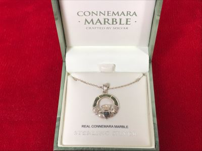 New Sterling Silver Connemara Marble Irish Claddagh Pendant With Sterling Silver Chain By Solvar Retails $97