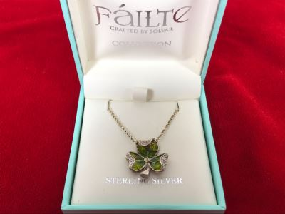 New Sterling Silver Shamrock Pendant With Sterling Silver Chain Failte Crafted By Solvar Retails $128