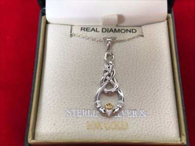 New 10k Gold And Sterling Silver Claddagh Pendant Featuring Real Diamond With Sterling Silver Chain Retails $146