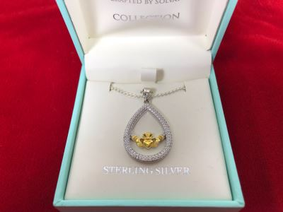 New Sterling Silver Claddagh Pendant With Sterling Silver Chain Failte Crafted By Solvar Retails $106