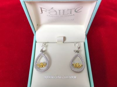 New Sterling Silver Claddagh Earrings Failte Crafted By Solvar Retails $117