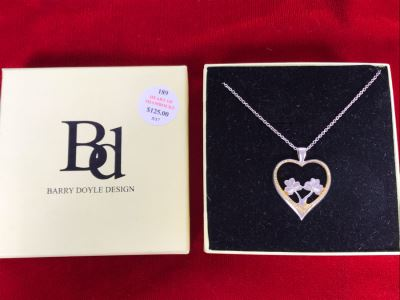 New Sterling Silver Heart Of Shamrocks Pendant With Sterling Silver Chain By Barry Doyle Design Retails $125