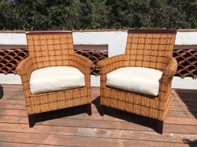 Pair Of Wicker / Wood Armchairs