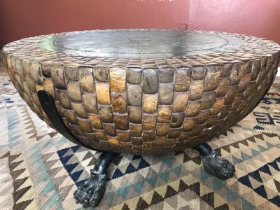 Kreiss Nairobi Drum Coffee Table With Bronze Claw Feet, Engraved Bronze Top And Mosaic Coconut Shells 39R X 20H Original Price $4,650