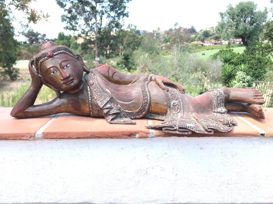 Vintage Carved Wooden Gilded Buddha Sculpture Statute Lying Stance 32W X 12D X 9H [Photo 1]