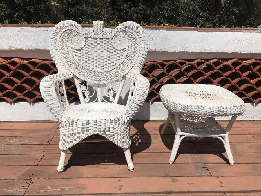 Vintage White Wicker Armchair With Wicker Side Table [Photo 1]