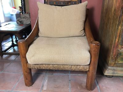 Oversized Ranch House Rush Seat Wooden Armchair