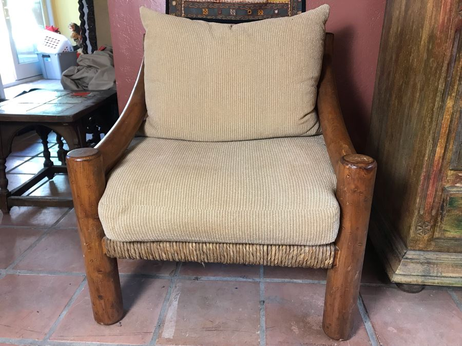 Oversized Ranch House Rush Seat Wooden Armchair [Photo 1]