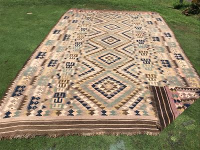 Large Turkish Kilim Tribal Pattern Area Rug Hand Knotted Browns 9.3'W X 15.75'L