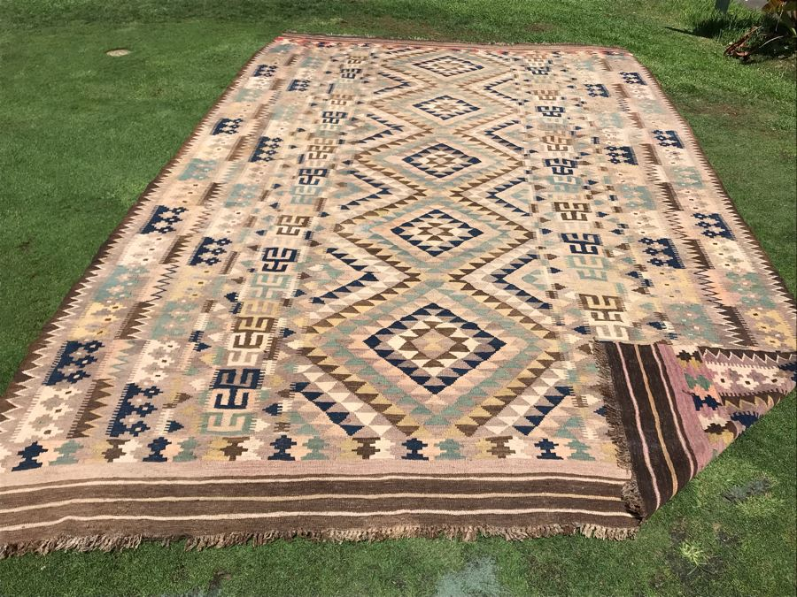 Large Turkish Kilim Tribal Pattern Area Rug Hand Knotted Browns 9.3'W X 15.75'L [Photo 1]