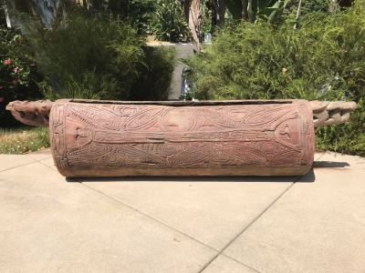 'Museum Piece' African Congo Tribal Slit Drum Idiophone Detailed Carvings Throughout Carved From One Solid Tree Trunk 81W X 16D X 20H VERY HEAVY - See Photos For Details