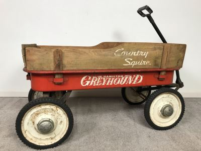Vintage Hamilton Greyhound Pressed Steel Wagon 42W X 18D