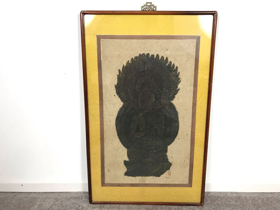 Signed Asian Buddha Artwork In Nice Frame 20W X 32H [Photo 1]