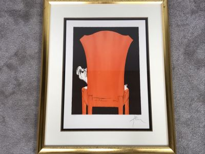 Rene Gruau Hand Signed Limited Edition Lithograph Titled 'La Chaise Rouge' 151 Of 300 25.5W X 31.5H
