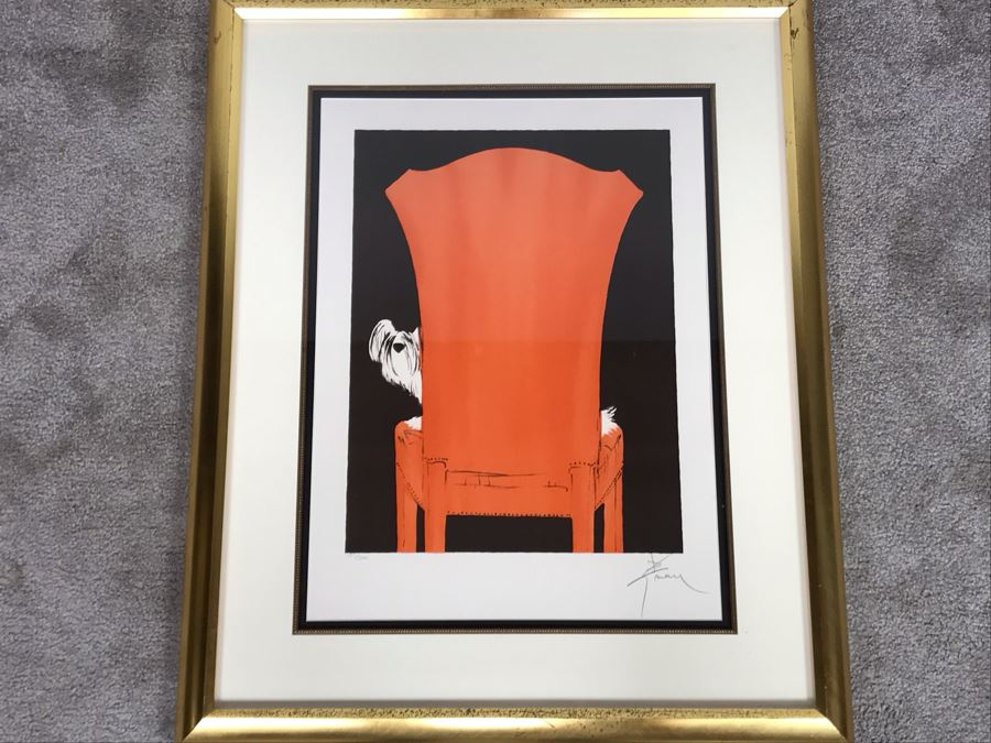 Rene Gruau Hand Signed Limited Edition Lithograph Titled 'La Chaise Rouge' 151 Of 300 25.5W X 31.5H [Photo 1]