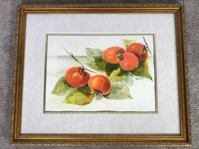 Framed Original Watercolor Painting Of Fruit Signed Sweet 22 X 18