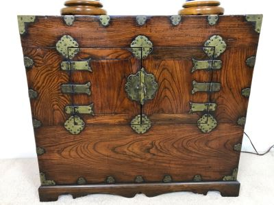 Stunning Antique Korean Cabinet With Brass Hardware 32.5W X 14D X 29H
