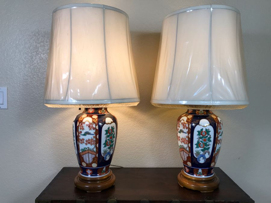 Pair Of Japanese Imari Hand Painted Porcelain Table Lamps [Photo 1]