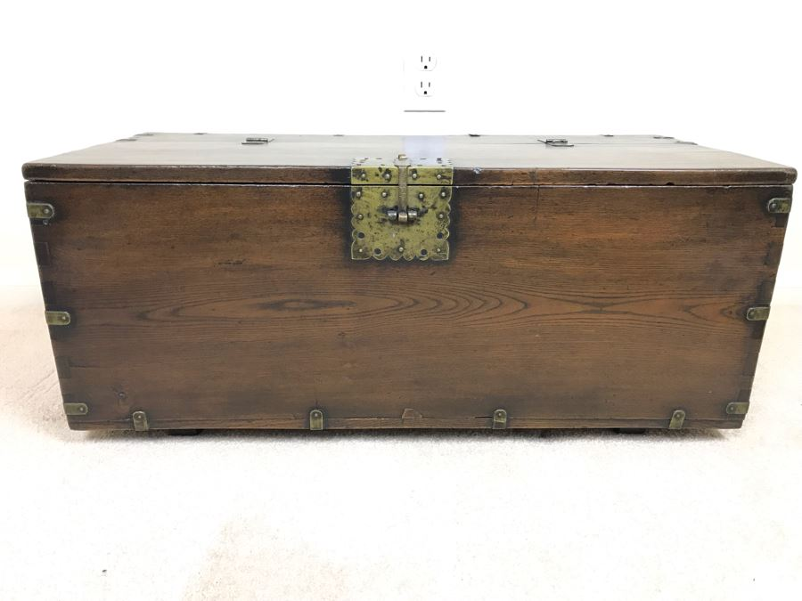 Antique Asian Chest With Brass Hardware 28W X 13D X 12H [Photo 1]