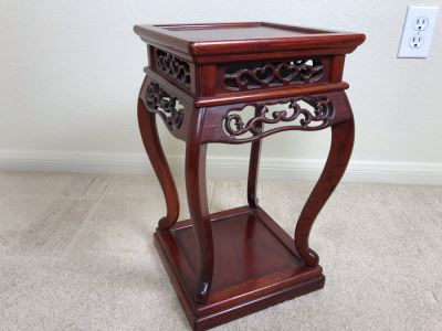 Vintage Chinese Wooden Stand 10W X 16.5H