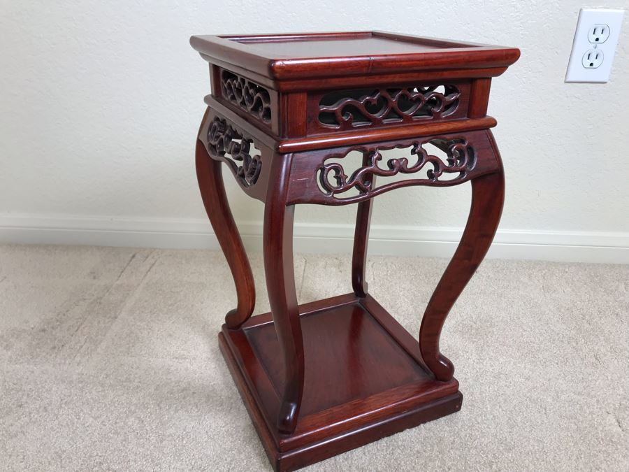Vintage Chinese Wooden Stand 10W X 16.5H [Photo 1]