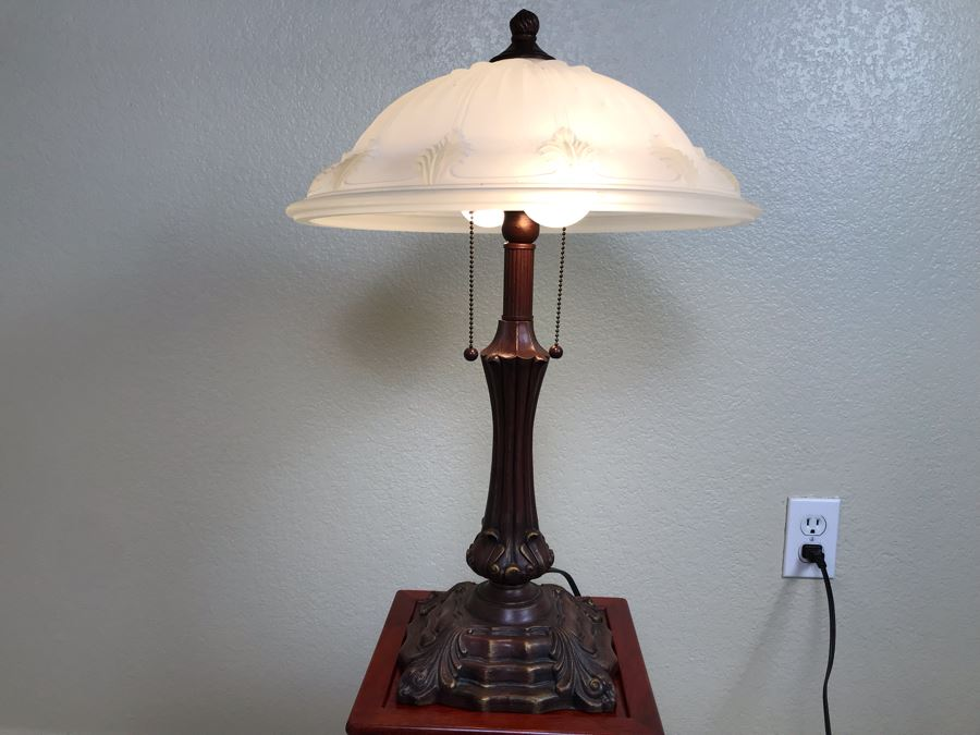 Metal Table Lamp With Glass Shade [Photo 1]
