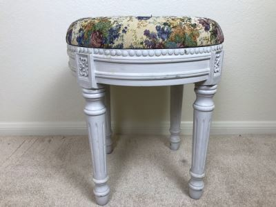 Shabby Chic Painted Stool 17W X 19H