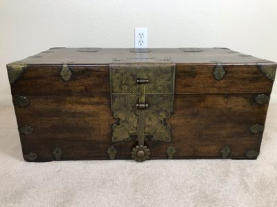 Antique Asian Wooden Chest With Chased Brass Hardware