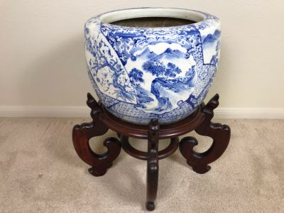 Large Blue And White Vintage Chinese Porcelain Pot With Wooden Stand - Pot 16W X 12H - Stand 12H