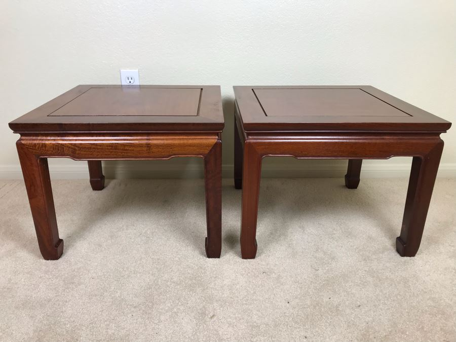 Pair Of Chinese Hong Kong Wooden Side Tables 20W X 16H [Photo 1]