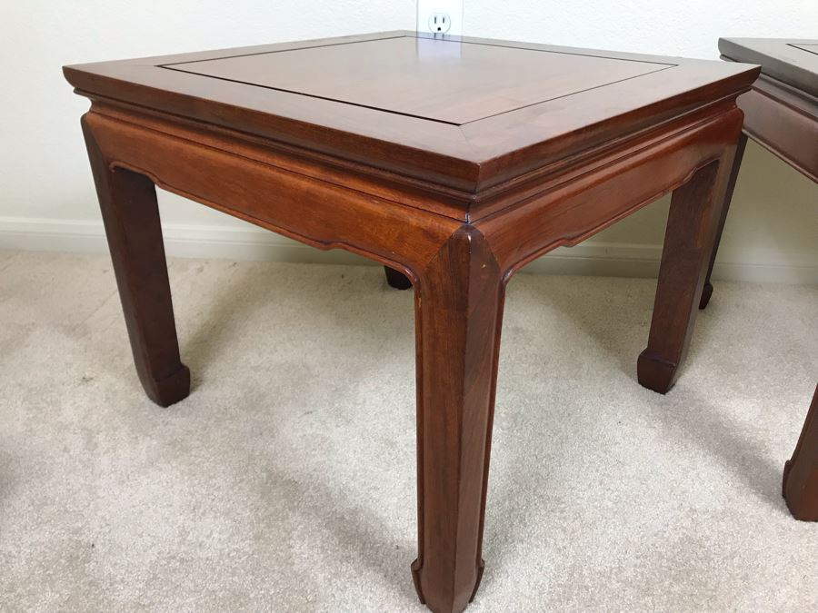 Pair Of Chinese Hong Kong Wooden Side Tables 20W X 16H